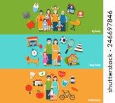 big happy healthy family flat... | Shutterstock .eps vector #246697846