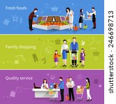 people in supermarket flat... | Shutterstock .eps vector #246698713
