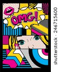 pop art card vector illustration   Shutterstock .eps vector #246715600