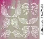 Set of illustrations with angel wings.