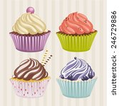 vector set of sweet cupcakes. | Shutterstock .eps vector #246729886