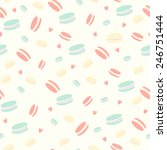 cute pattern with macaroon ... | Shutterstock .eps vector #246751444
