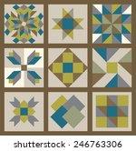 Patchwork elements set. Vector illustration