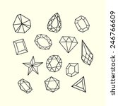 set of outlined gem stones and... | Shutterstock .eps vector #246766609