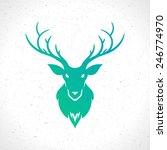 Deer Head Silhouette Isolated...
