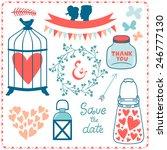 vector set of cute romantic...   Shutterstock .eps vector #246777130