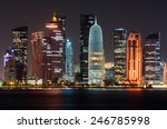 Stock photo doha skyline at night qatar middle east 246785998