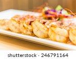 Steak Shrimps In White Plate  ...