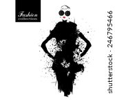 fashion girl in sketch style.... | Shutterstock .eps vector #246795466