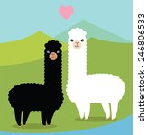 two cute alpacas in love | Shutterstock .eps vector #246806533