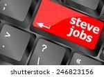 Stock vector steve jobs button on keyboard life concept 246823156