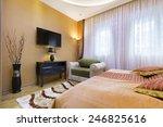 interior of a hotel bedroom   Shutterstock . vector #246825616