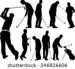 Golf Players Silhouettes  ...