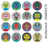 cute cartoon monsters set. big...