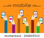 mobile concept  hands and... | Shutterstock .eps vector #246835513