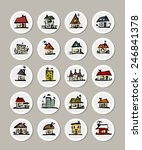 set of icons with houses for... | Shutterstock .eps vector #246841378