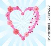 heart frame with roses   Shutterstock .eps vector #24684220