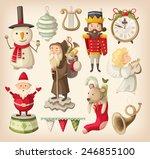 set of retro christmas toys for ... | Shutterstock .eps vector #246855100