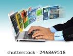 businessman hand browsing... | Shutterstock . vector #246869518