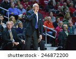 Small photo of PHILADELPHIA - JANUARY 14: Southern Methodist Mustangs head coach Larry Brown yells towards the court during the AAC conference college basketball game January 14, 2015 in Philadelphia.