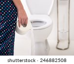 close up of woman on toilet in... | Shutterstock . vector #246882508