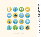 travel flat icons set for design