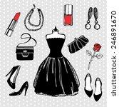 hand drawn vintage fashion set. ... | Shutterstock .eps vector #246891670