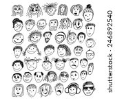 stick figure faces. vector | Shutterstock .eps vector #246892540