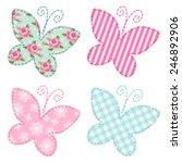 Stock vector cute primitive retro butterflies as textile patch applique 246892906