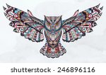 Stock vector patterned owl on the grunge background african indian totem tattoo design it may be used 246896116