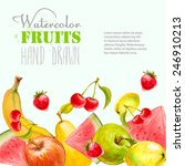 watercolor fruits background.... | Shutterstock .eps vector #246910213