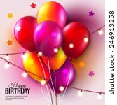 birthday card with balloons ... | Shutterstock .eps vector #246913258