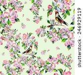 seamless pattern spring bird on ...   Shutterstock . vector #246929119