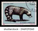 Small photo of SAO TOME AND PRINCIPE - CIRCA 1981: A stamp printed in Sao Tome and Principe shows african civet (viverra civetta), circa 1981