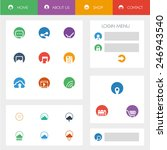 set of flat design icons in...