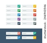 set of search flat design icons ...