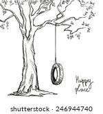 tree with a tyre swing. vector... | Shutterstock .eps vector #246944740