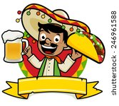 mexican man holding a cold beer ... | Shutterstock .eps vector #246961588