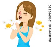 young woman going to sneeze... | Shutterstock .eps vector #246993550