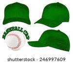Set Of Dark Green Baseball Caps ...