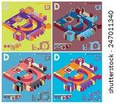 vector alphabet 3d letter d | Shutterstock .eps vector #247011340