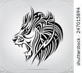 graphic silhouette roaring lion | Shutterstock .eps vector #247015894