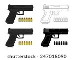 9 Mm Pistol And Bullets. Color...