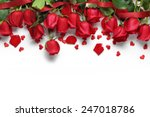 Stock photo red roses and heart shape ornaments on white background 247018786