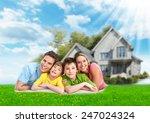 happy family near new home.... | Shutterstock . vector #247024324
