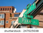 pike place street sign in... | Shutterstock . vector #247025038