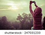 woman hiker taking photo with... | Shutterstock . vector #247031233