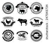 set of nine bbq labels with... | Shutterstock .eps vector #247043734