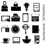 freelance workers icons set | Shutterstock .eps vector #247063414