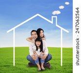 portrait of happy family... | Shutterstock . vector #247063564